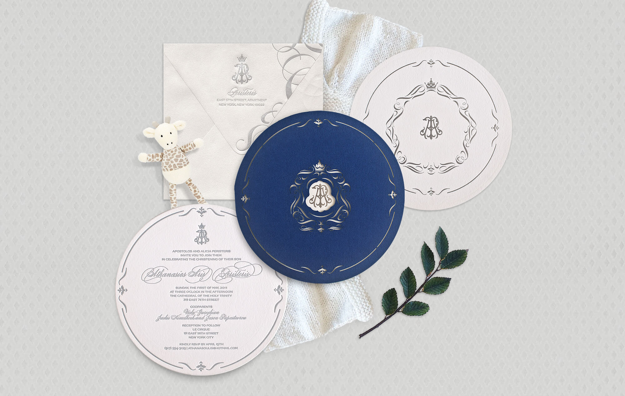 Luxury baby baptism invitation