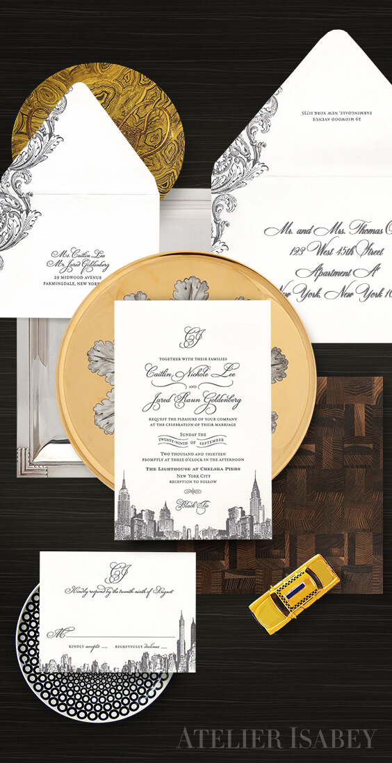 New York skyline letterpress wedding invitation | By Atelier Isabey