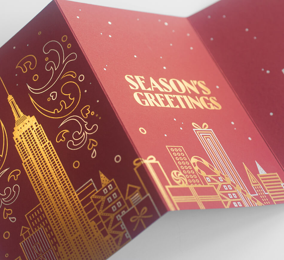 Folded holiday cards for the Empire State Building