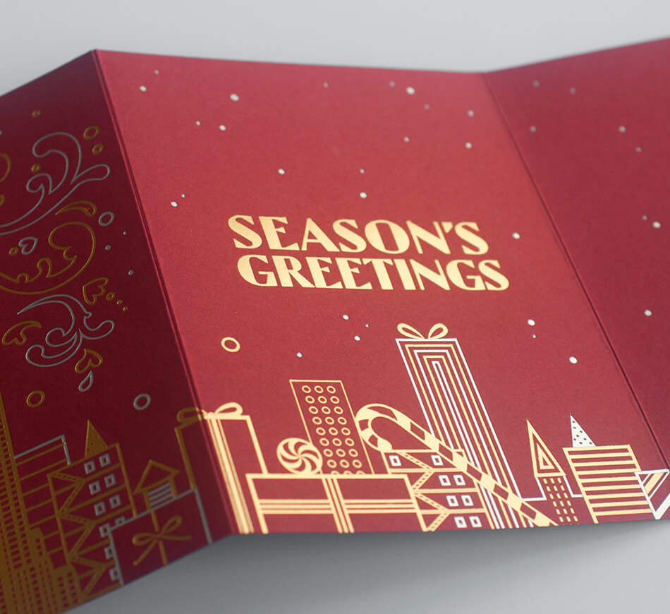 Gold and red season's greetings text