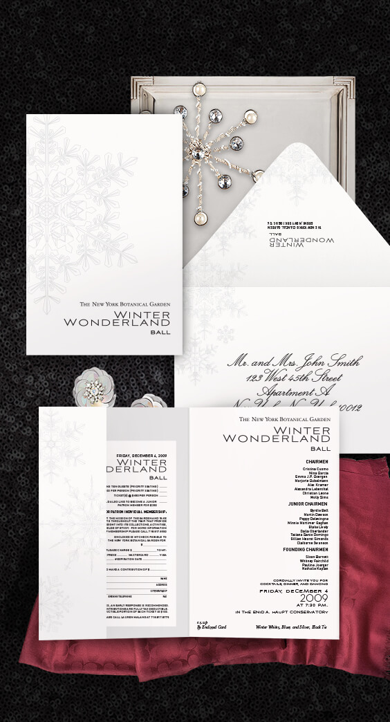 Invitation for the NYBG winter wonderland ball | By Atelier Isabey
