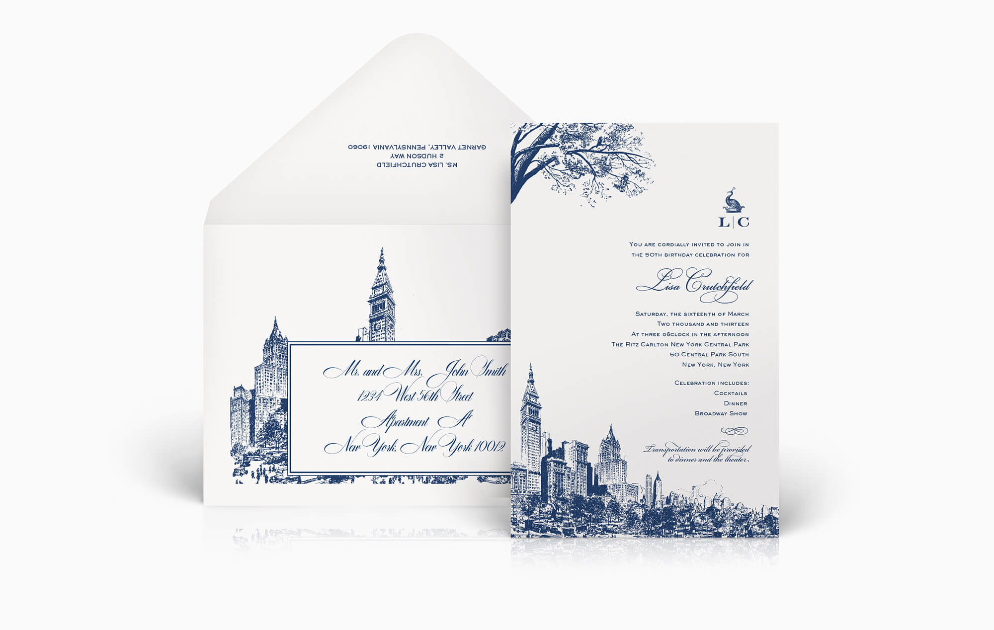 New York inspired invitation and envelope