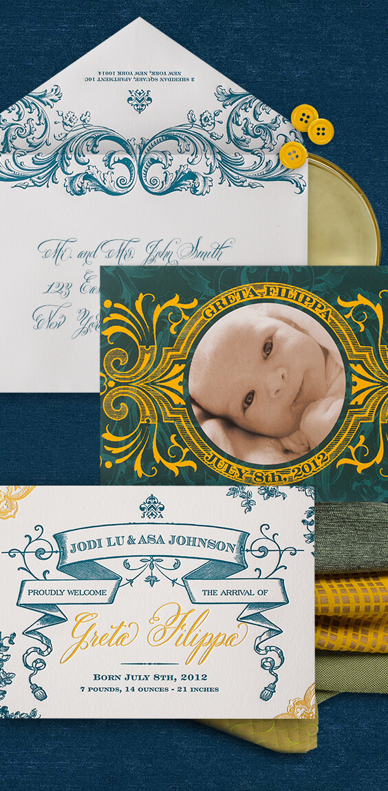 Old world baby announcement in yellow and teal | By Atelier Isabey