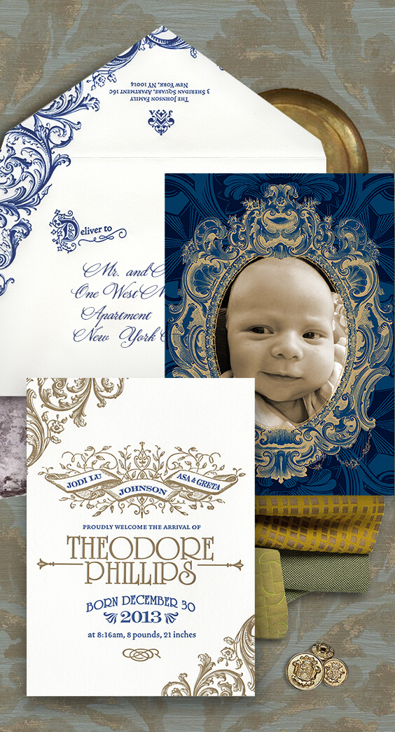 Old world letterpress baby announcement with photograph | By Atelier Isabey