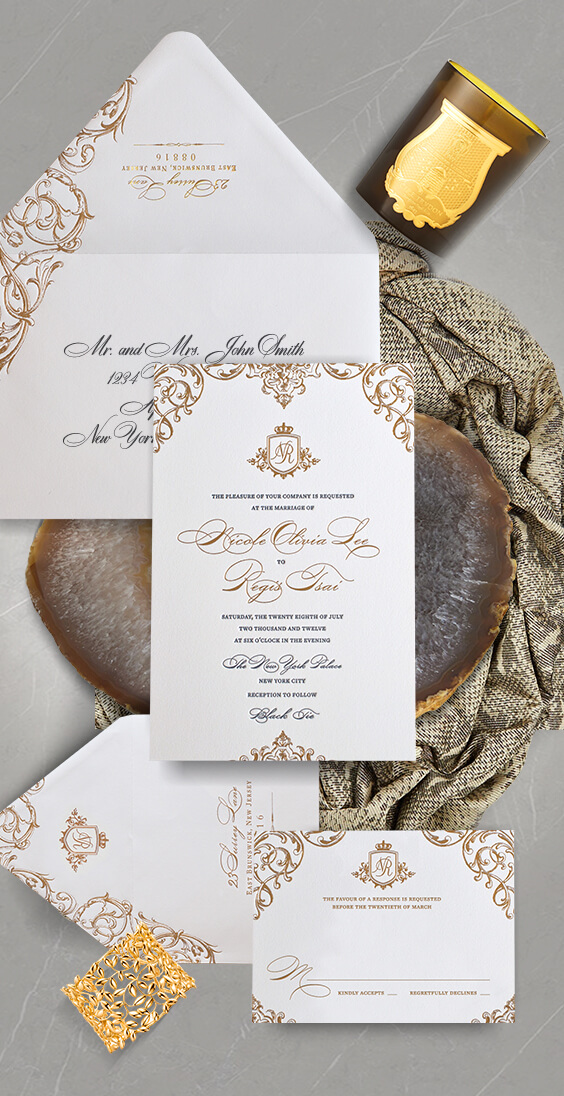 Ornate gold scrollwork wedding invitation | By Atelier Isabey