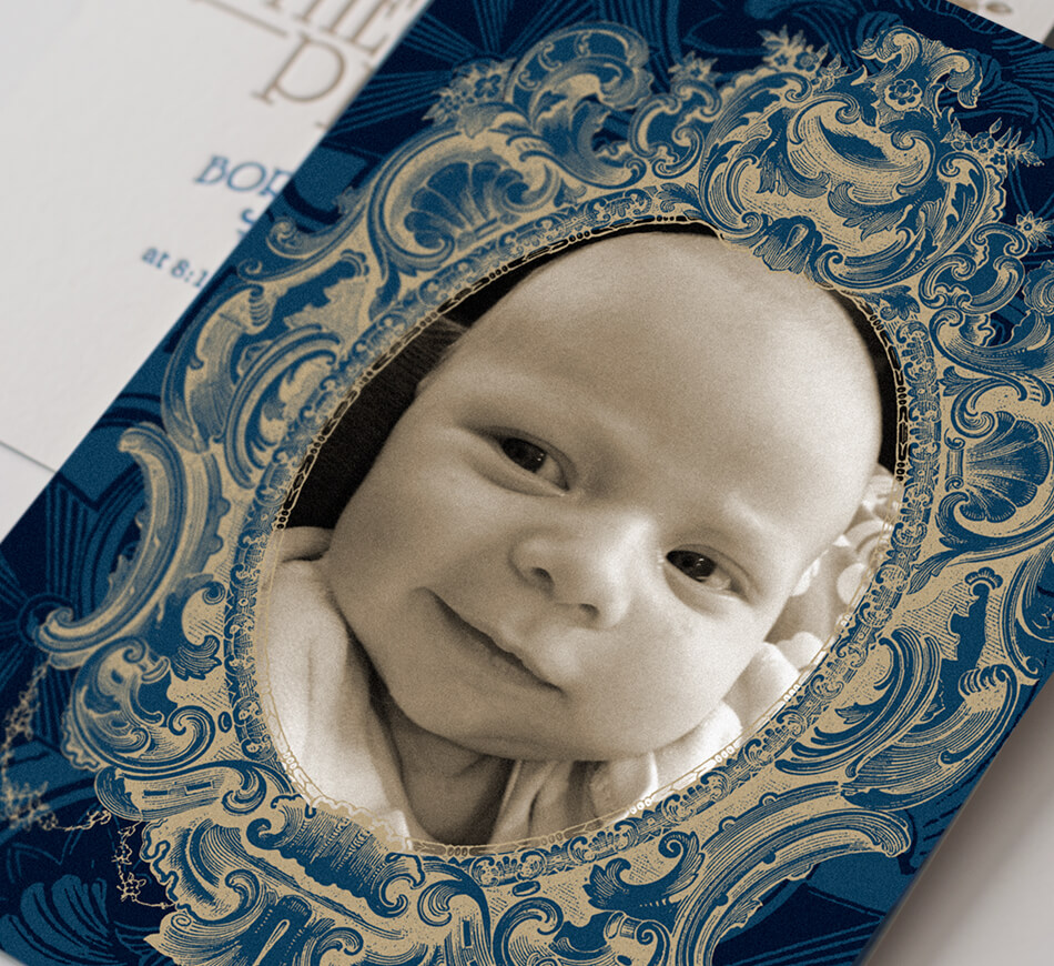 Blue and gold announcement with baby photograph