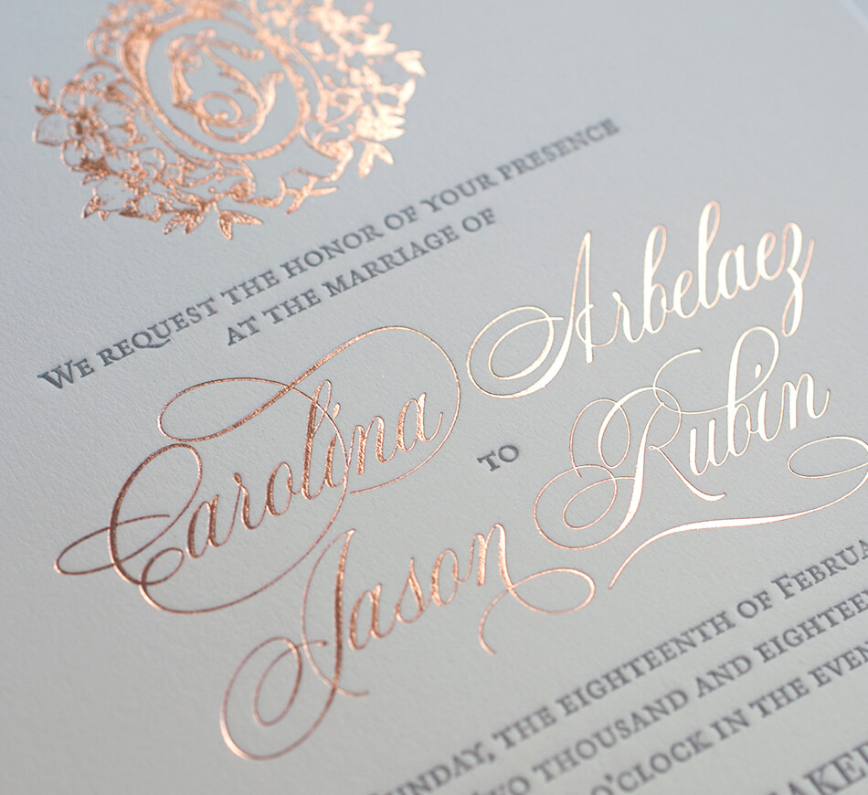 Rose gold calligraphy lettering