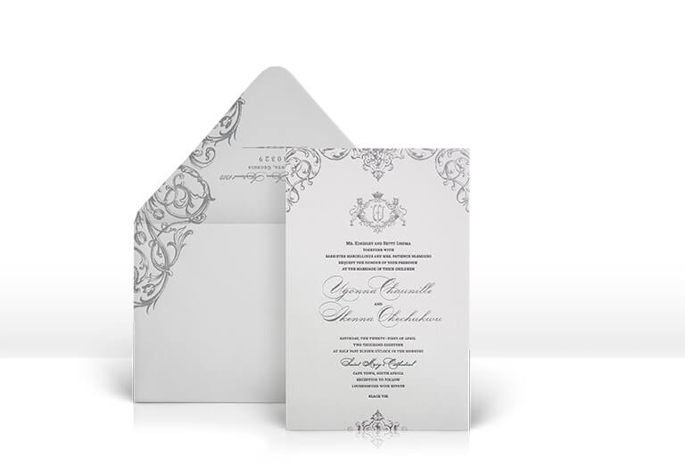 Silver ornate scroll wedding invitation