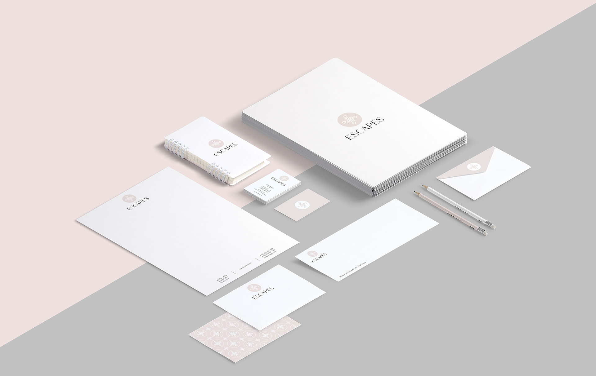 Escapes travel agency branding stationery suite