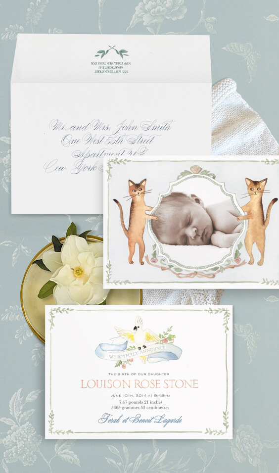 Watercolor baby announcement with an illustrated crest | By Atelier Isabey