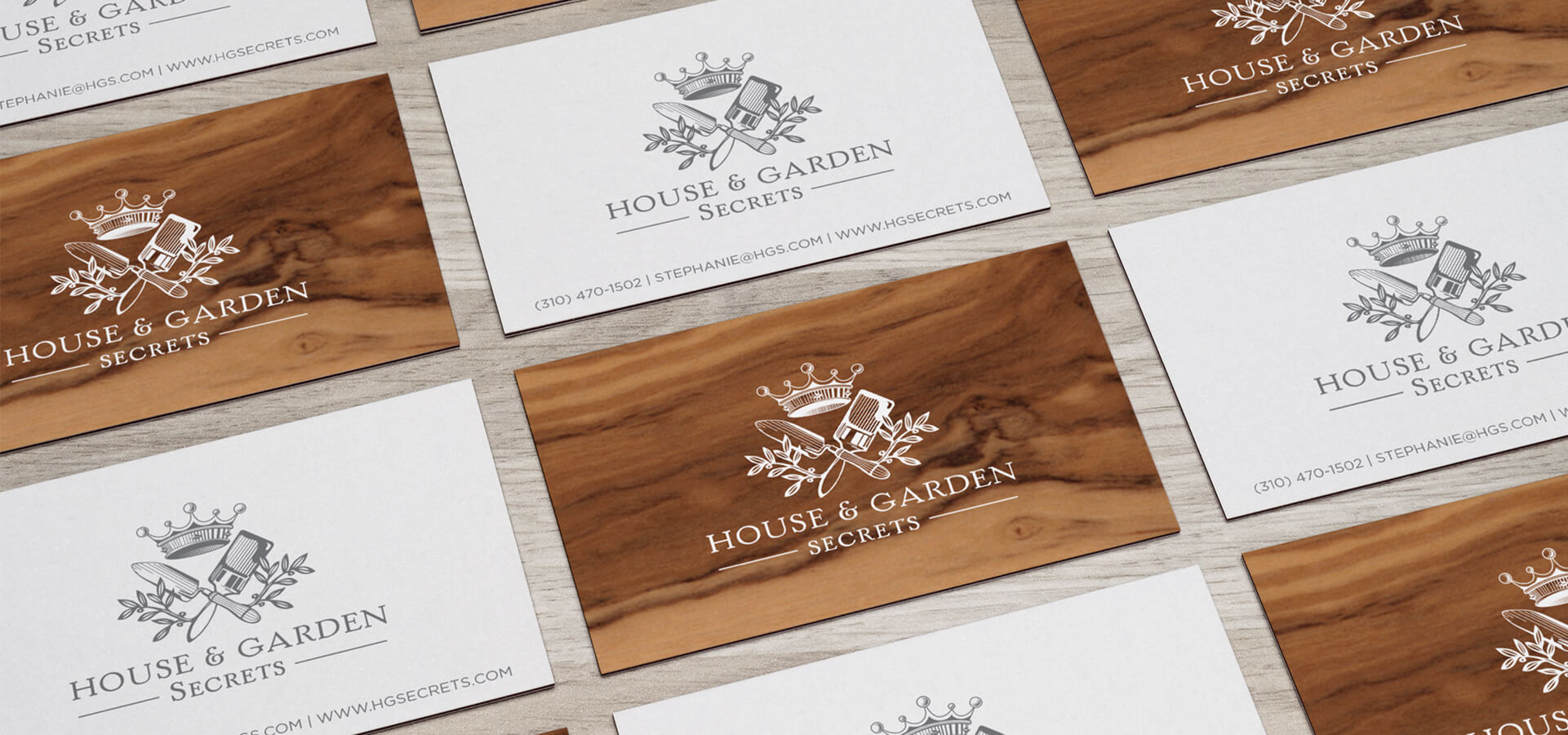 Wood veneer business cards with logo design