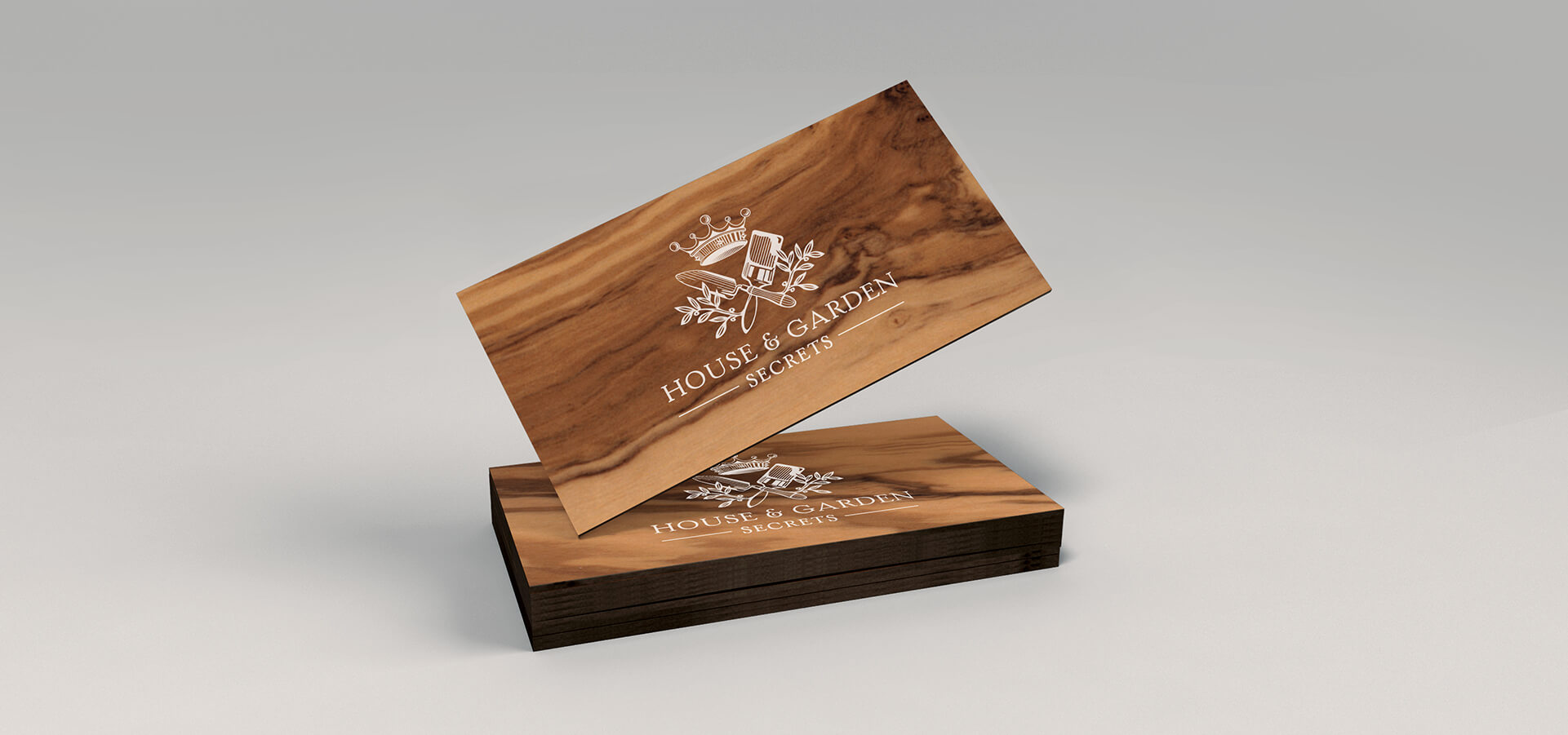 Wood veneer business cards with logo