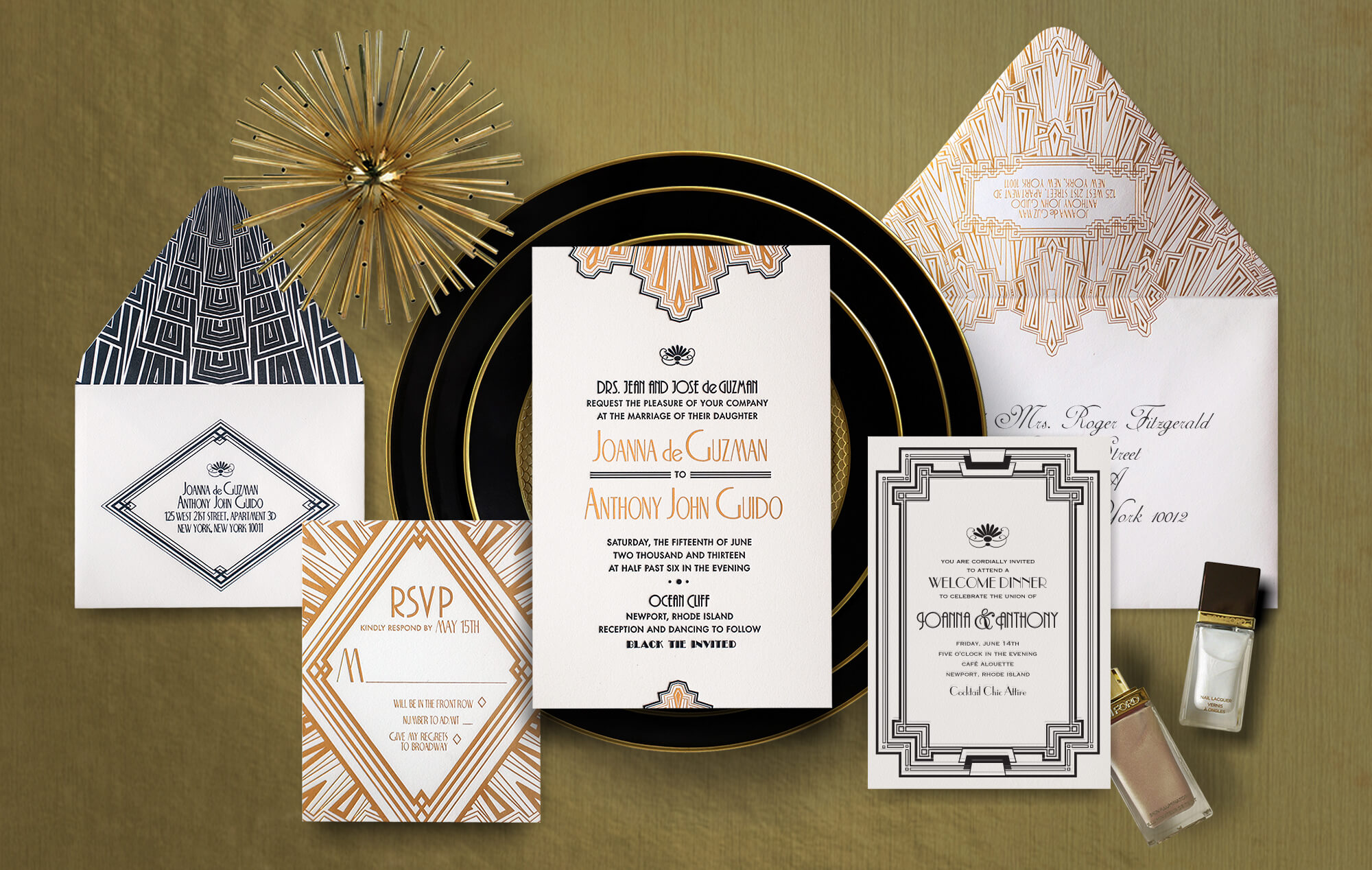 1920s Art Deco wedding invitation