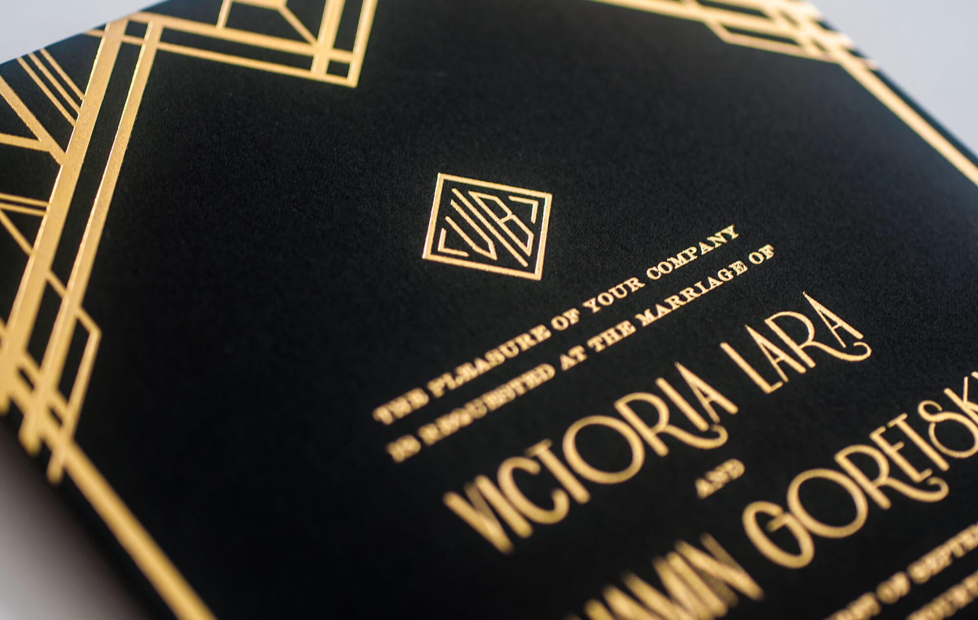 Art Deco wedding invitation detail