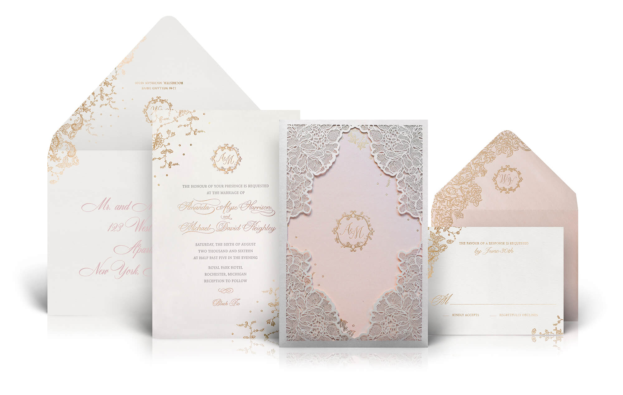 Blush pink and gold laser cut wedding invitation
