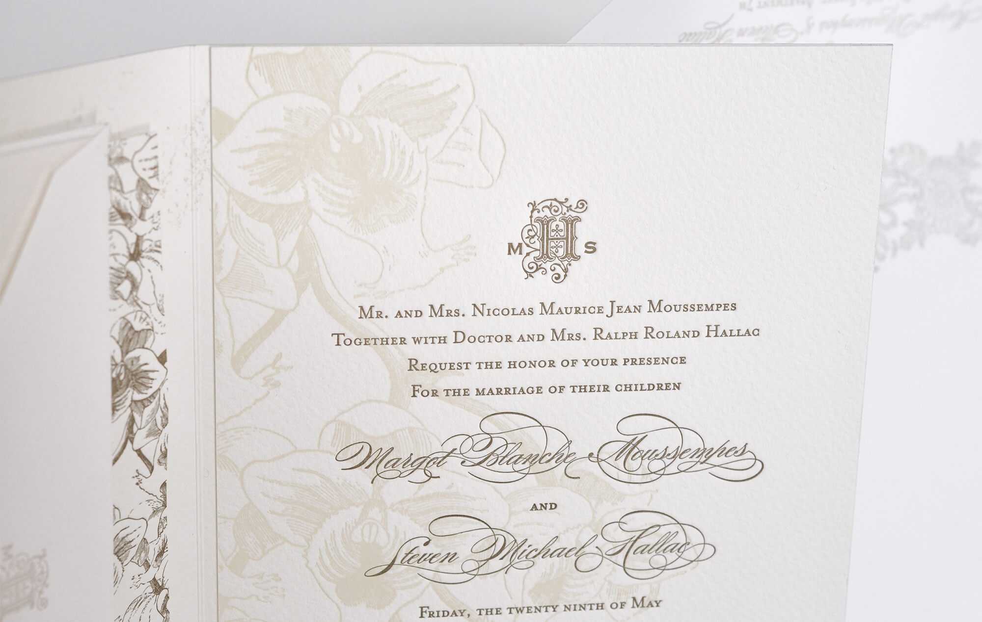Botanical invitation detail