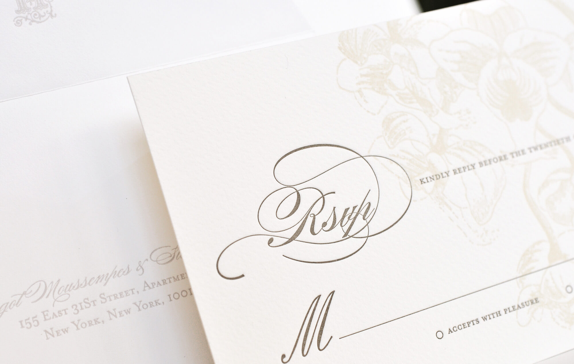 Calligraphy script and botanical floral