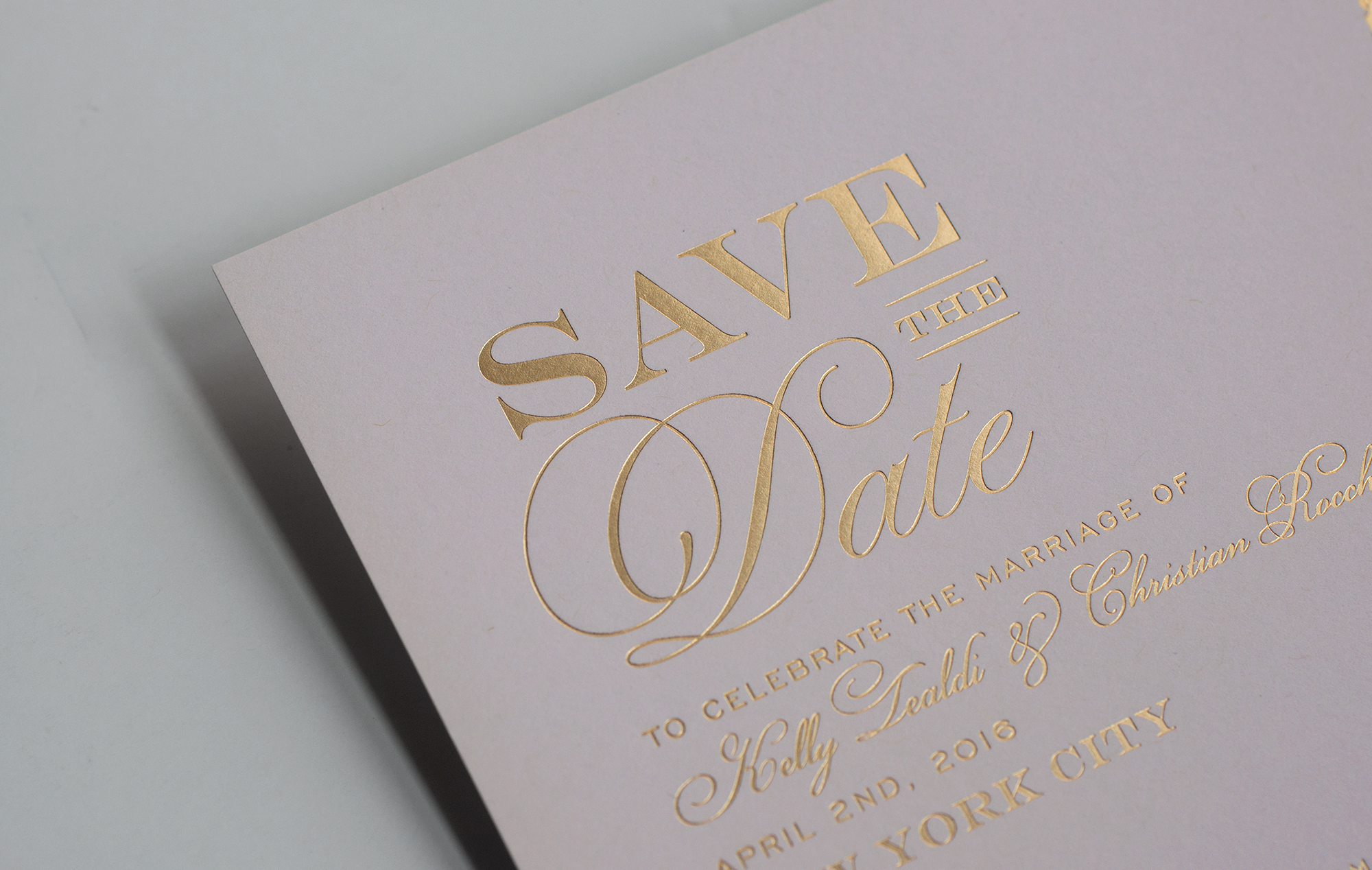 Champagne gold foil save the date