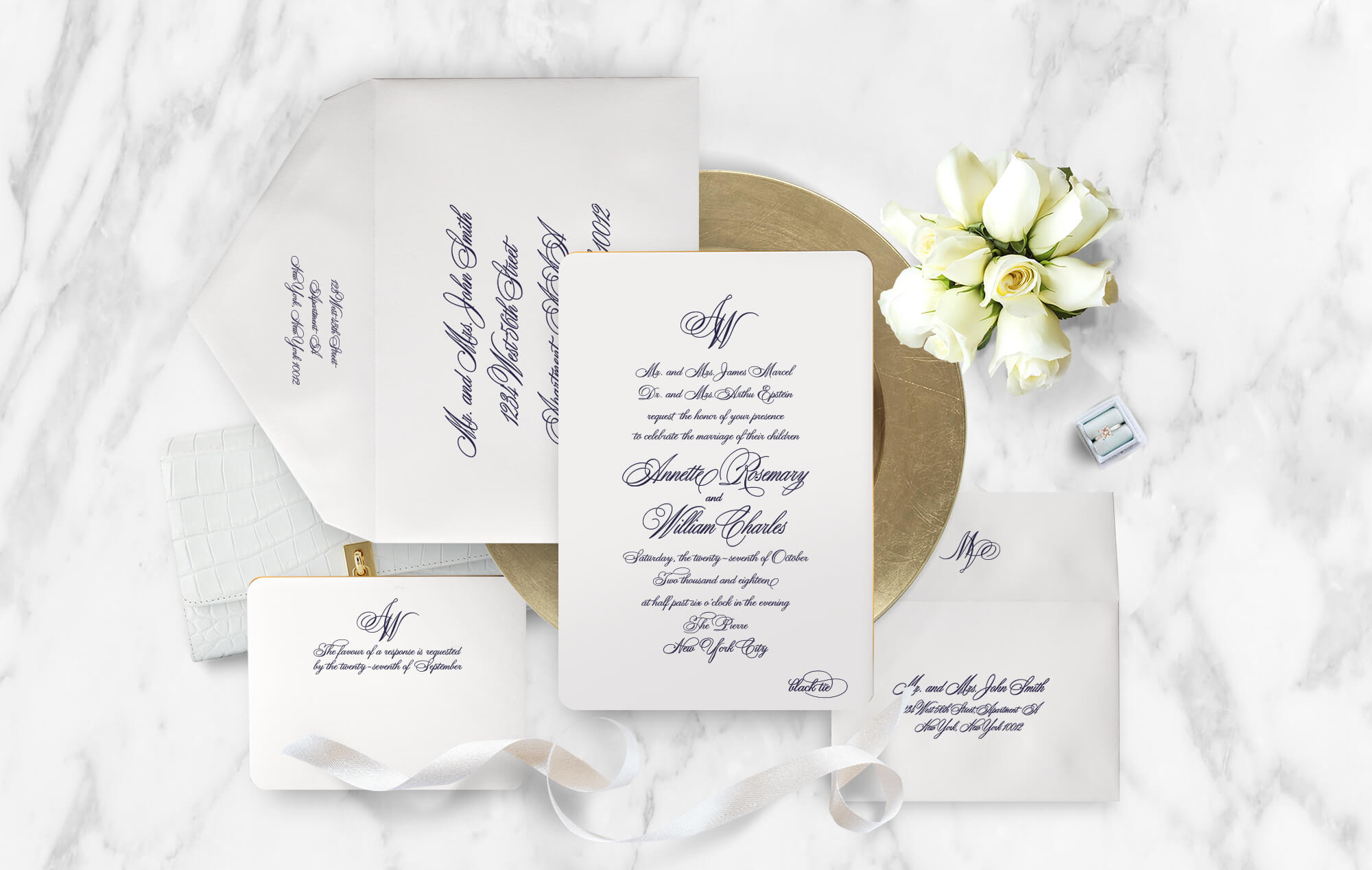 Classic engraved wedding invitation