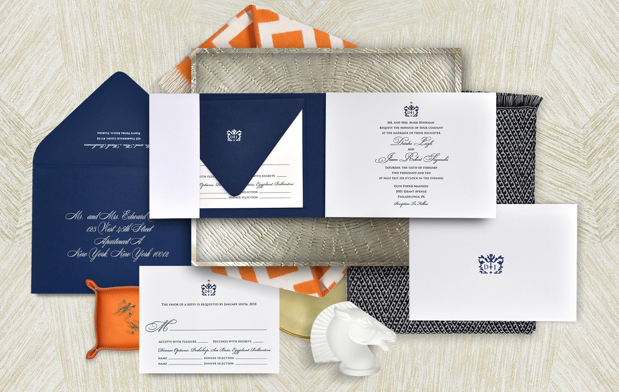 Simple classic navy and white wedding invitation