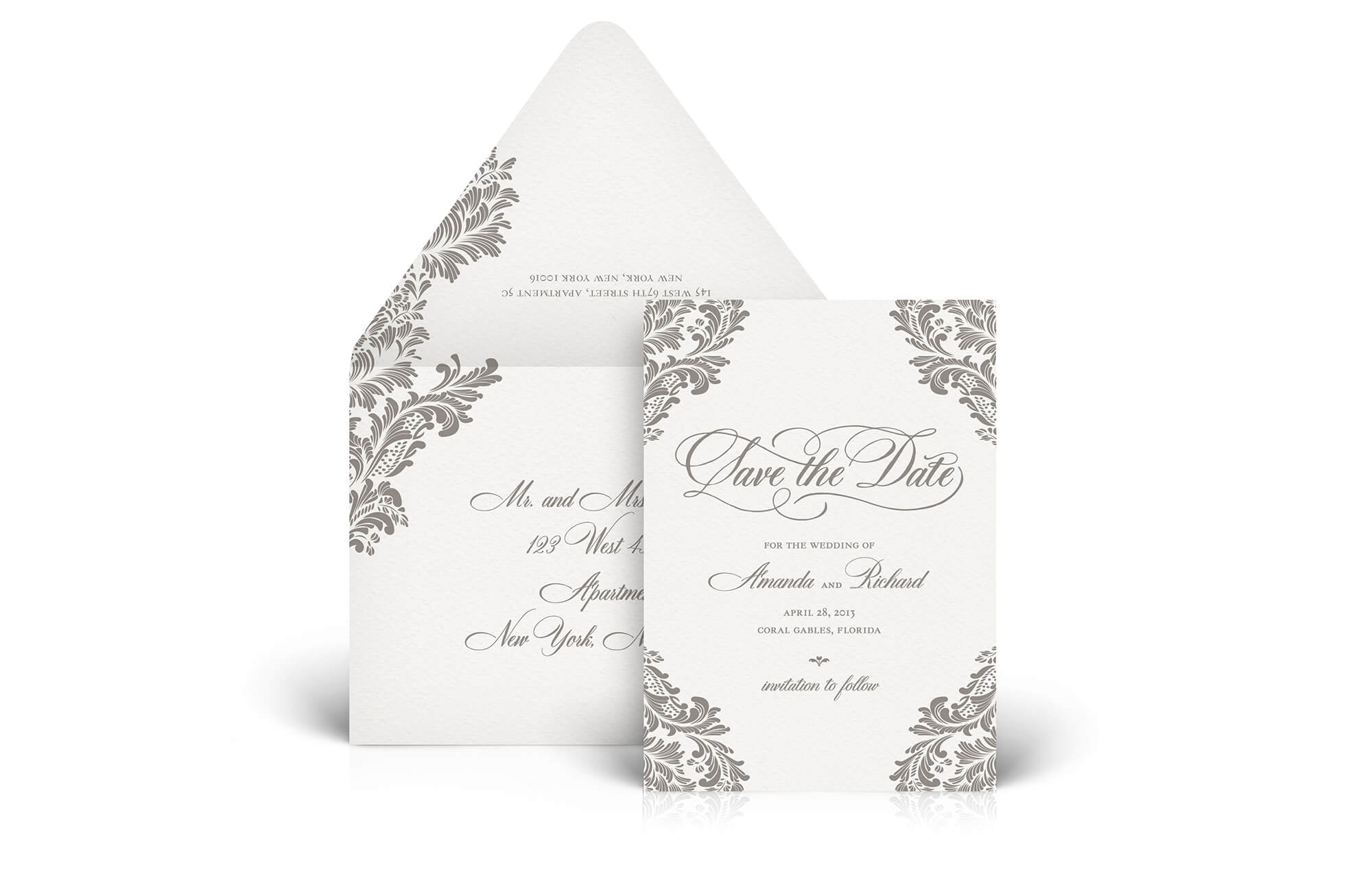 Classic ornate letterpress save the date