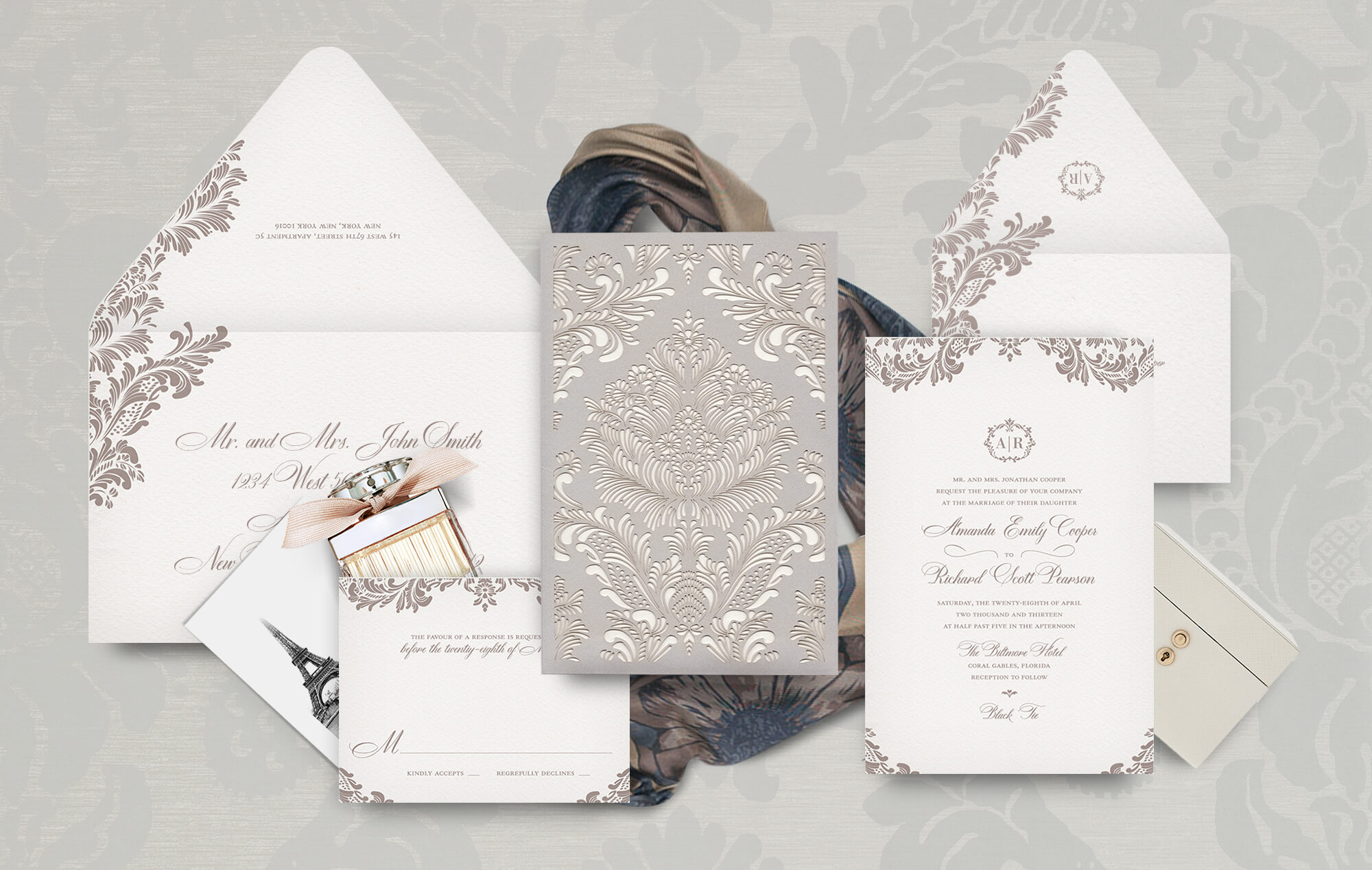Classic ornate laser cut wedding invitation