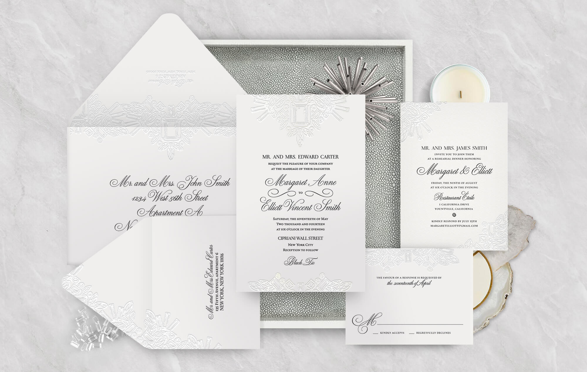 Winston diamond letterpress wedding invitation