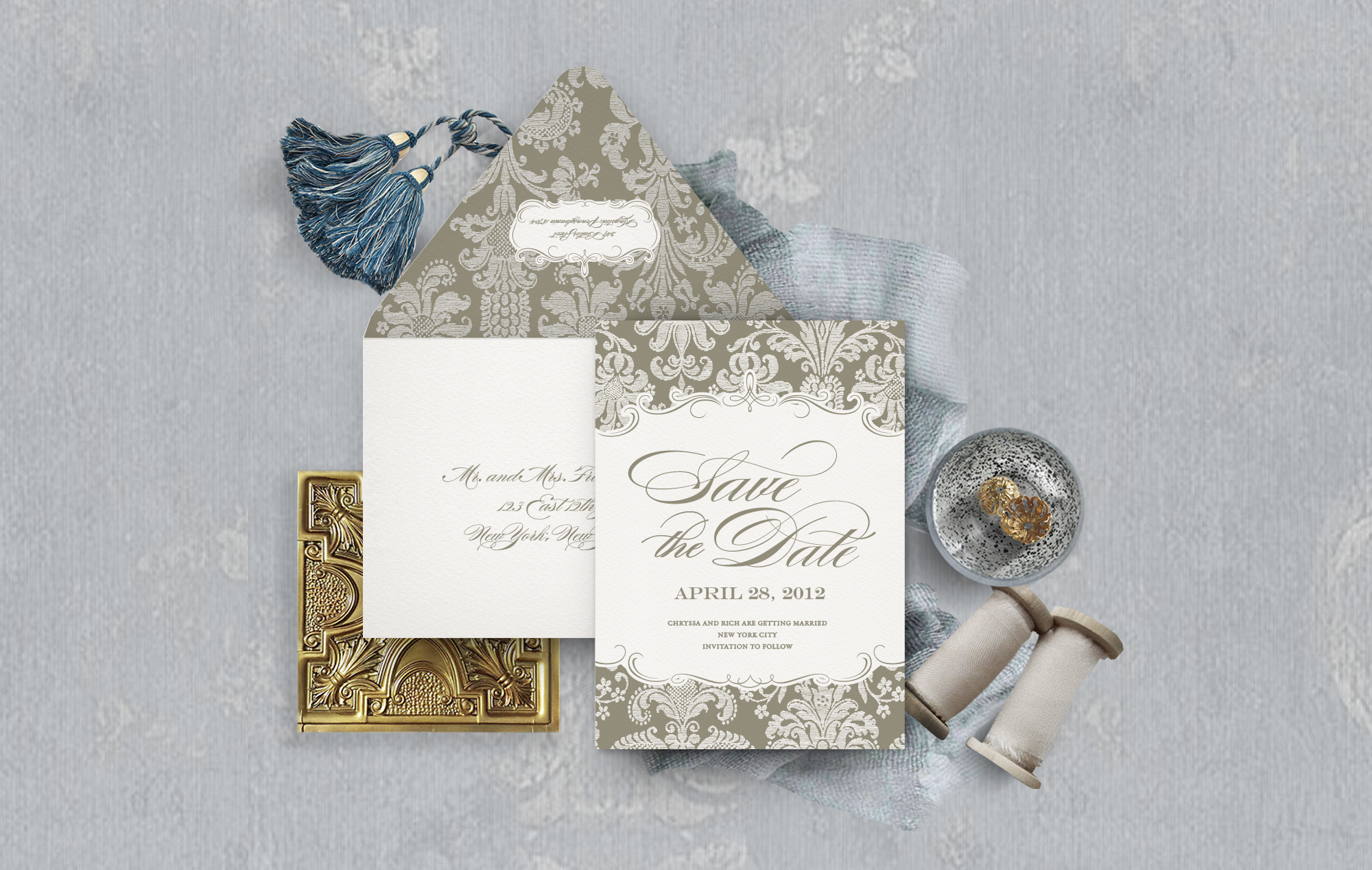 Ornate letterpress damask save the date