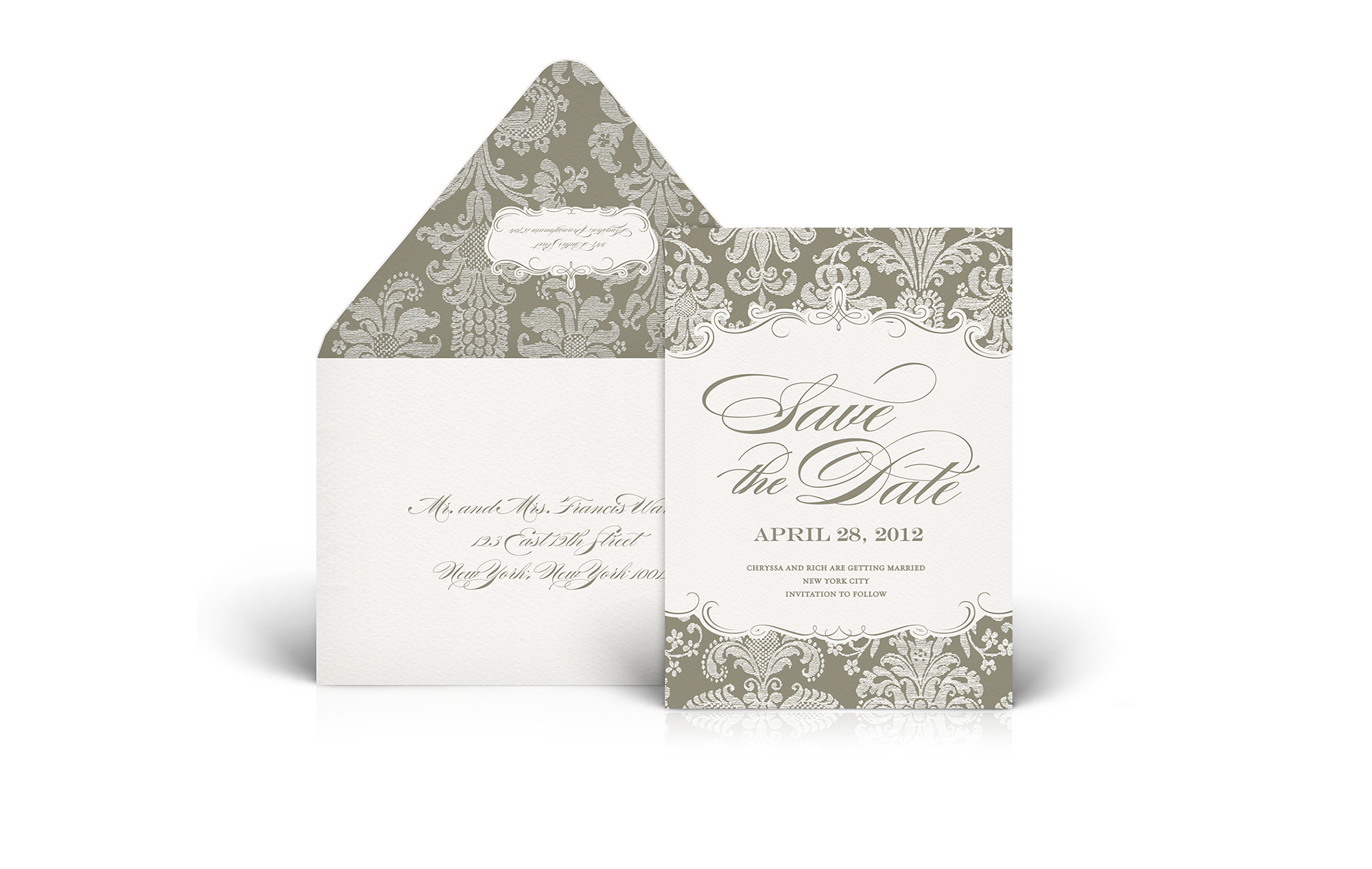 Damask print save the date