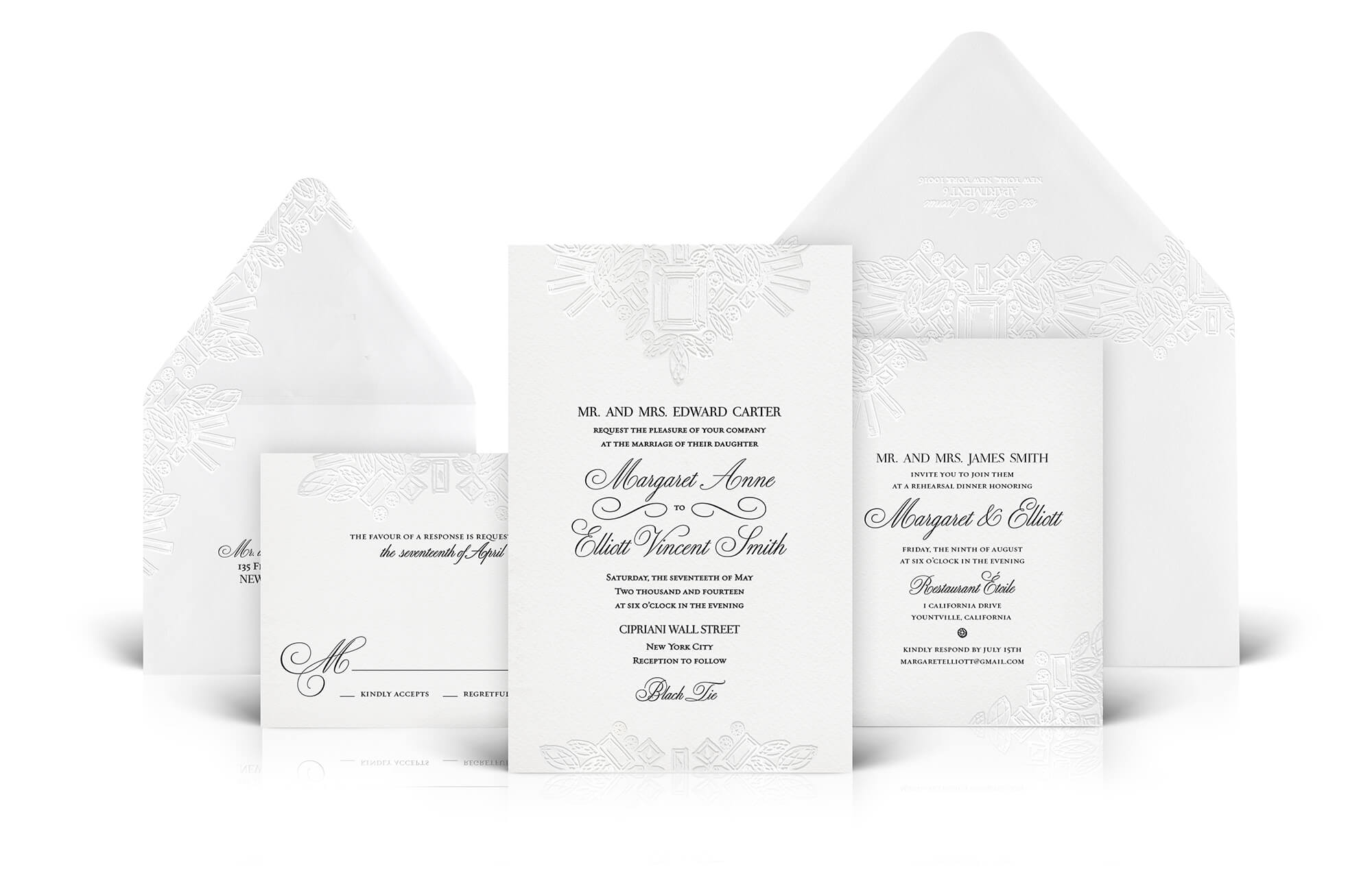 Crystal and jewel inspired wedding invitation