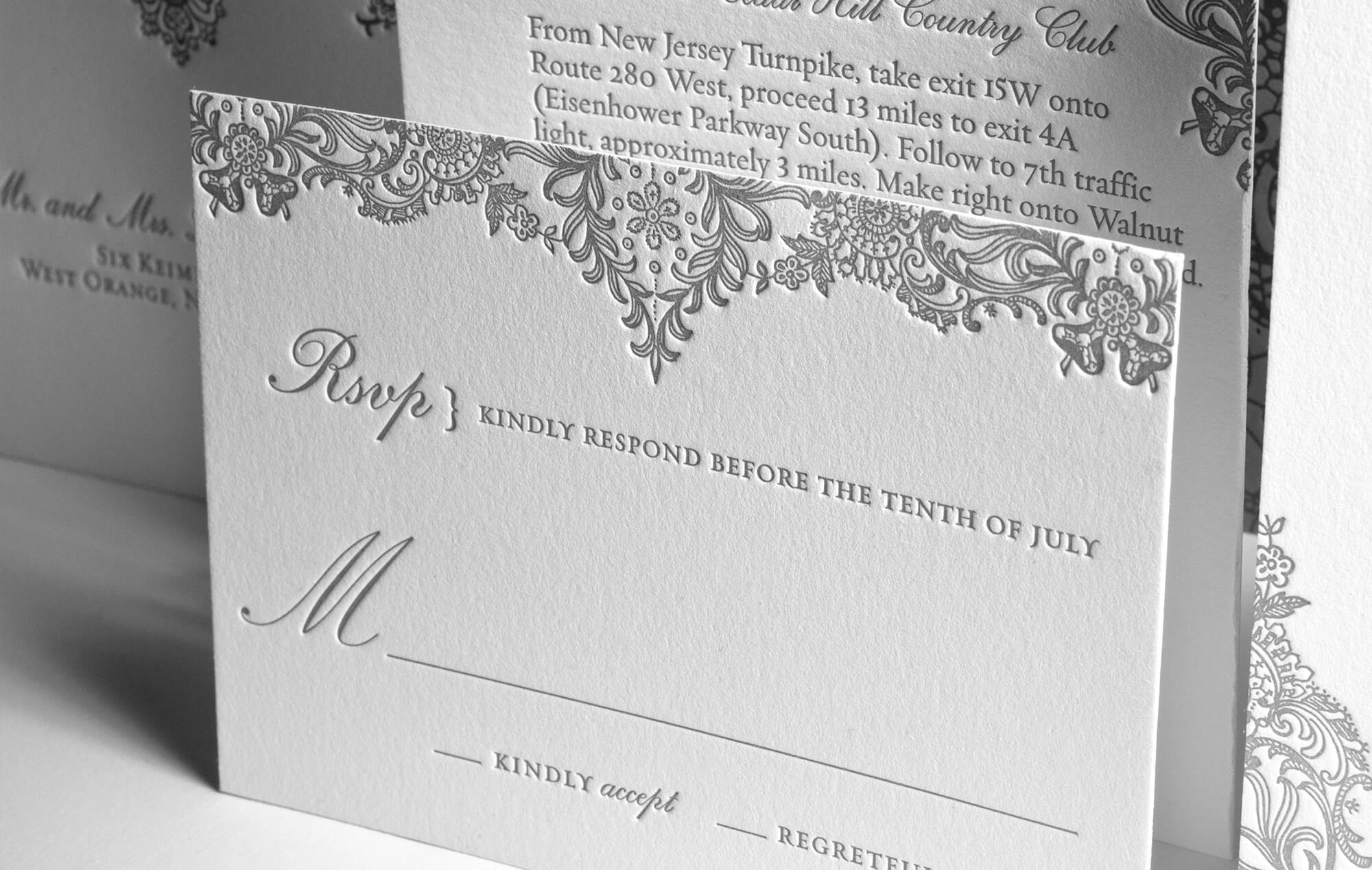 Elegant lace reply card