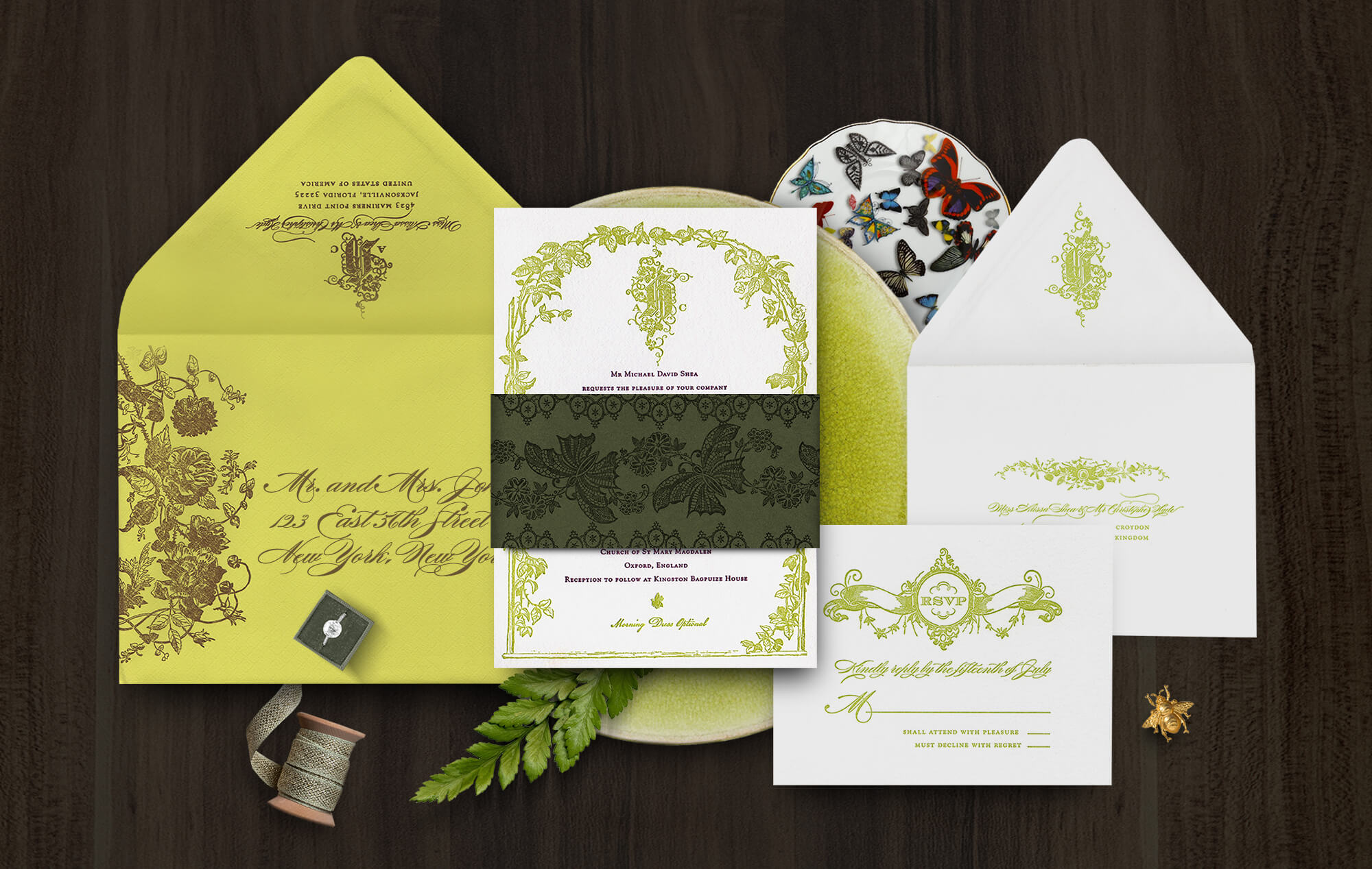 English garden trellis wedding invitation