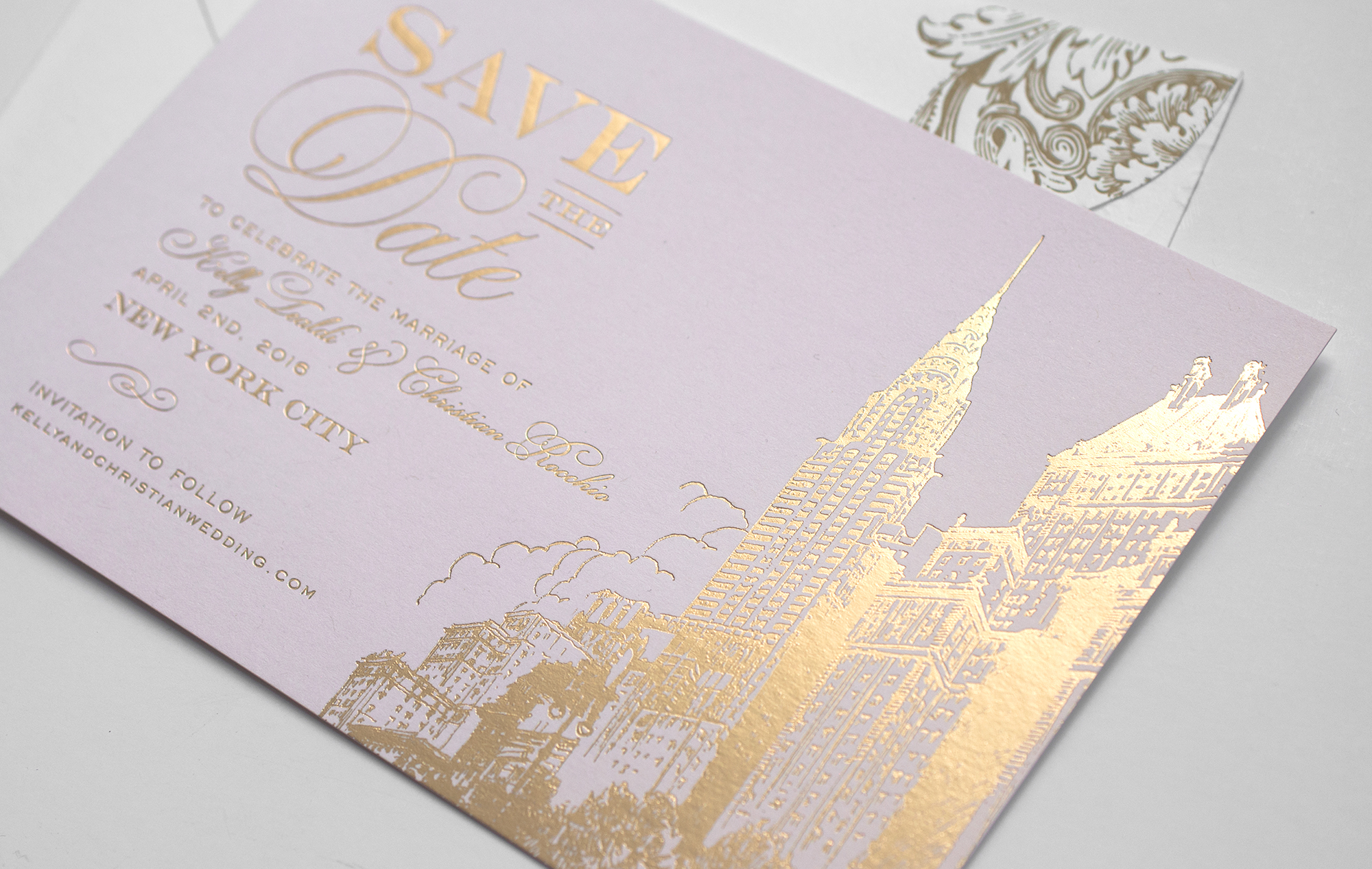 Gold and pink NYC skyline save the date