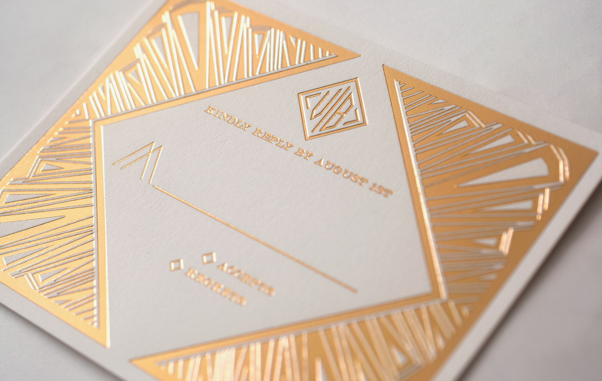 Gold Art Deco reply card