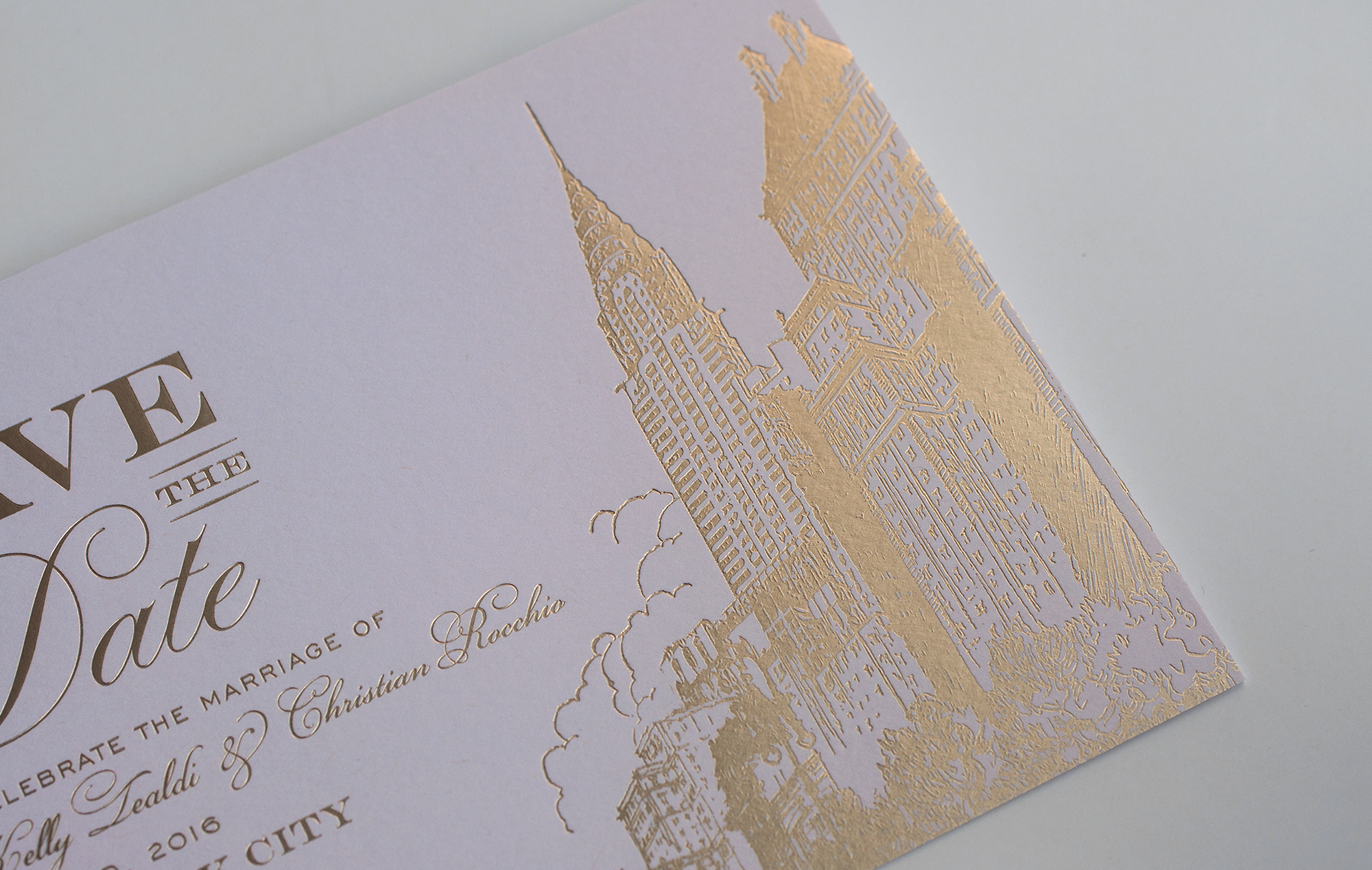 Chrysler Building printed in gold foil