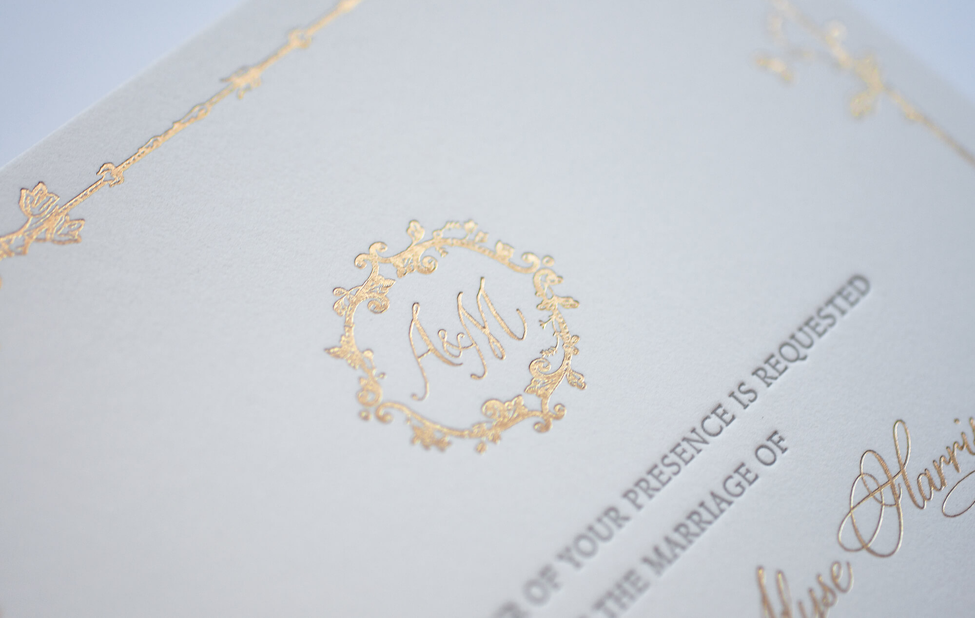 Gold foil monogram with border