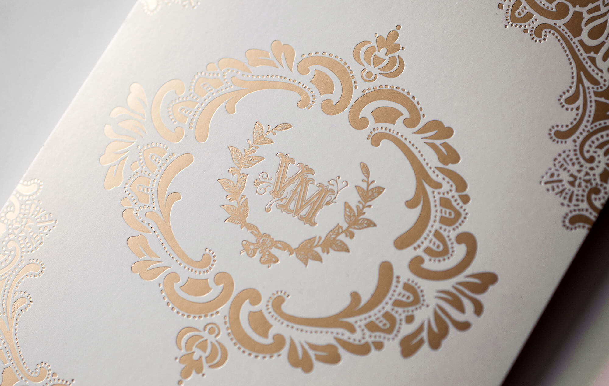 Gold foil monogram and ornate lace border