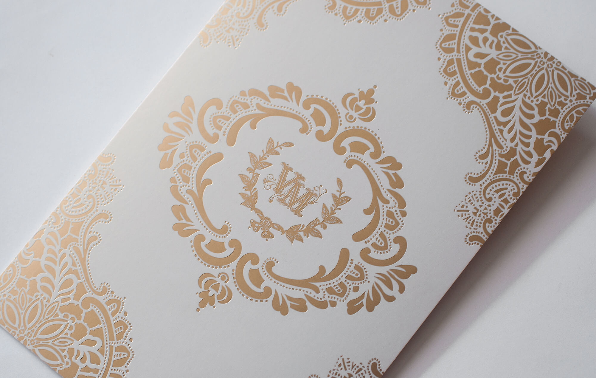 Gold on pearl wedding invitation backer