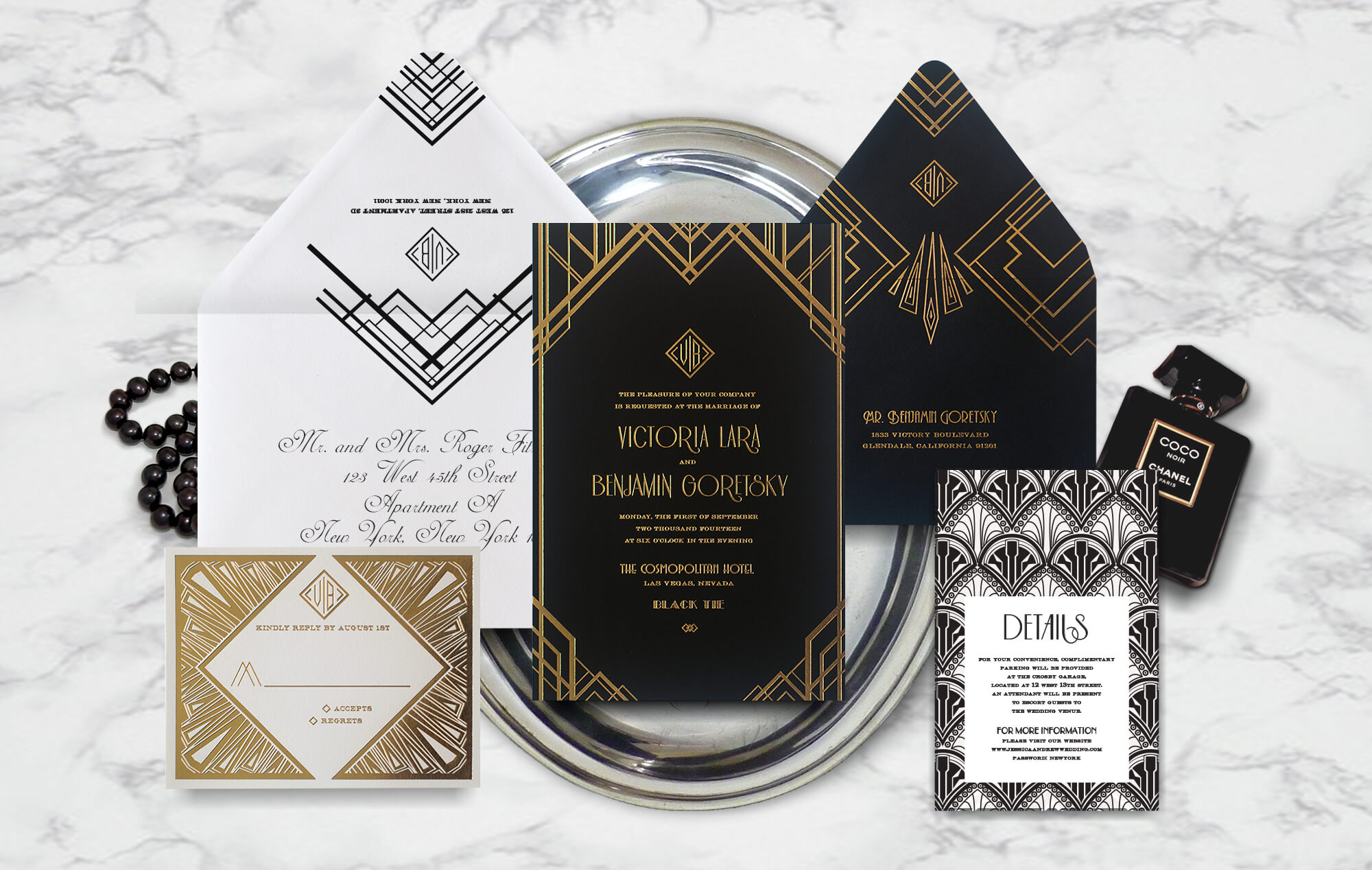 Great Gatsby 1920s wedding invitation