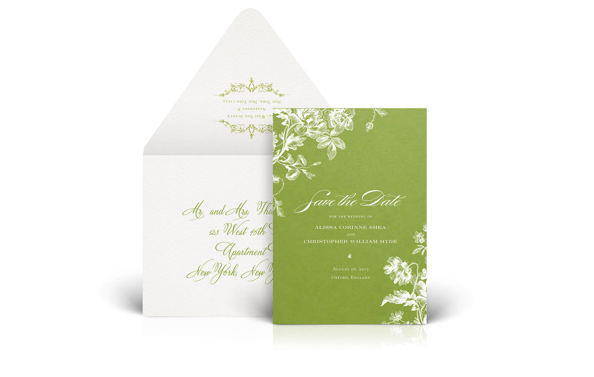 Green botanical save the date