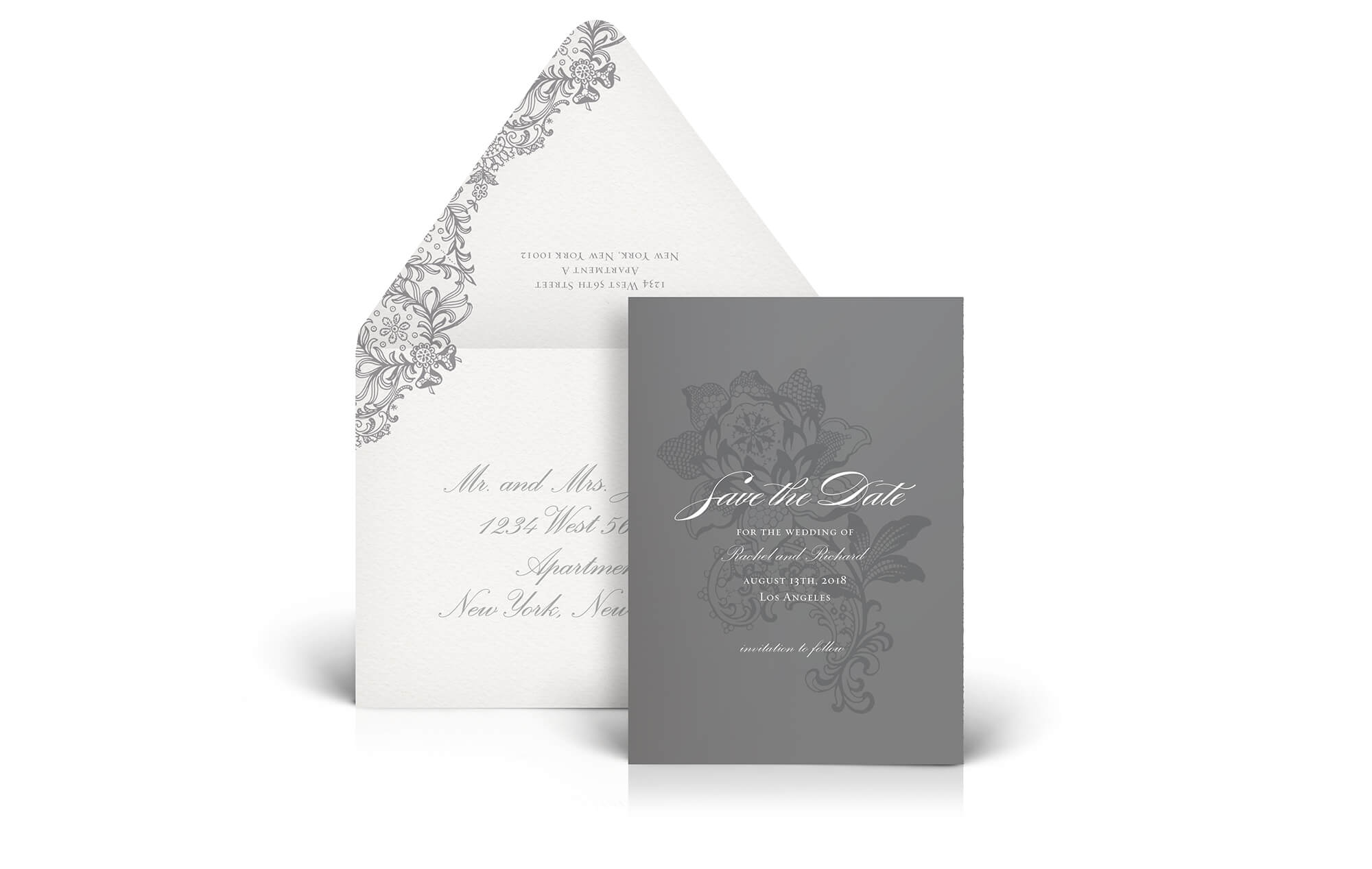 Grey lace wedding save the date