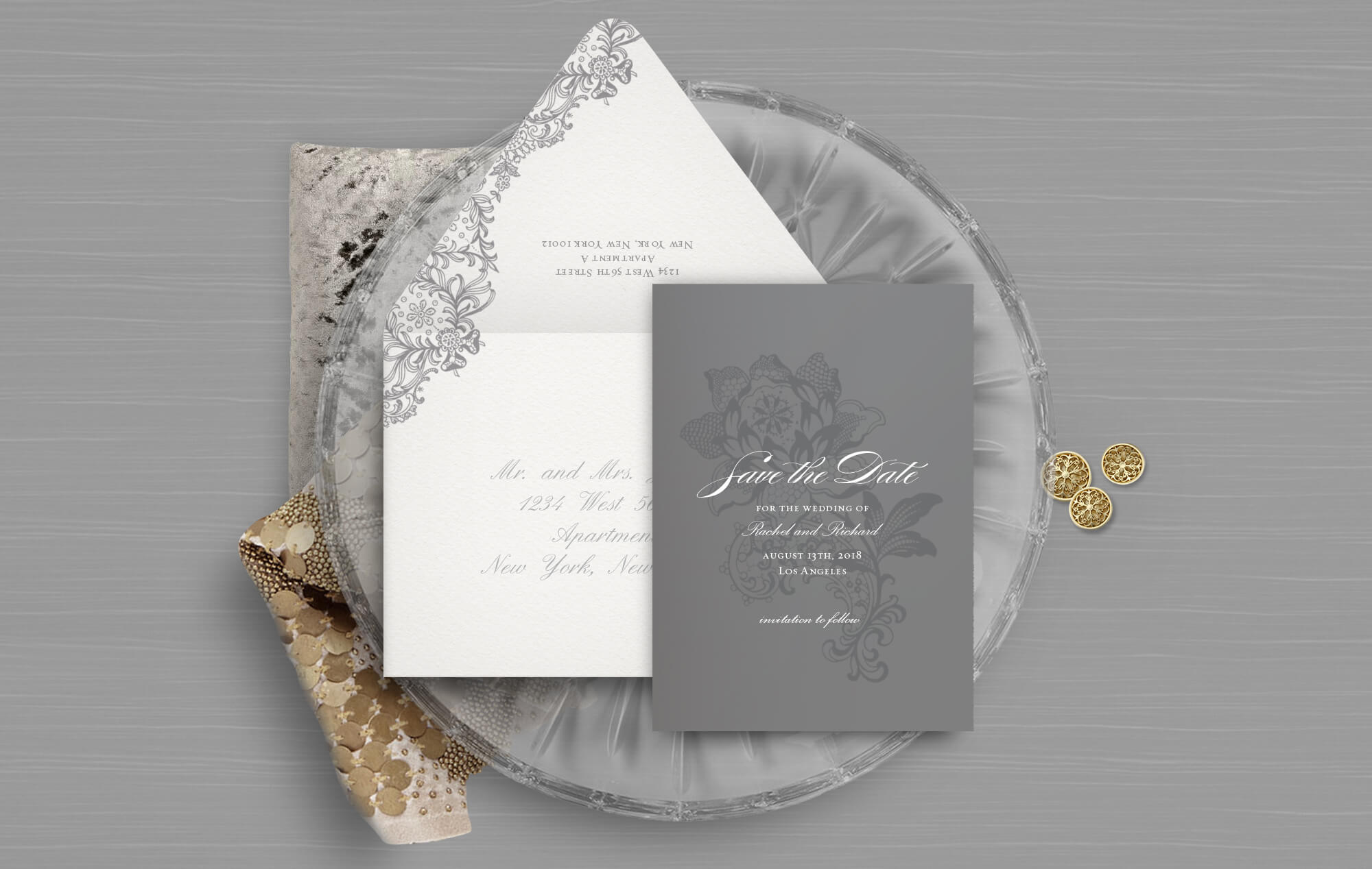 Grey and white classic lace save the date
