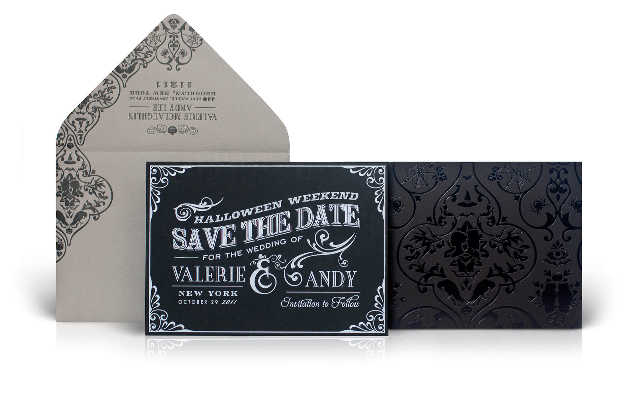 Halloween save the date and envelope