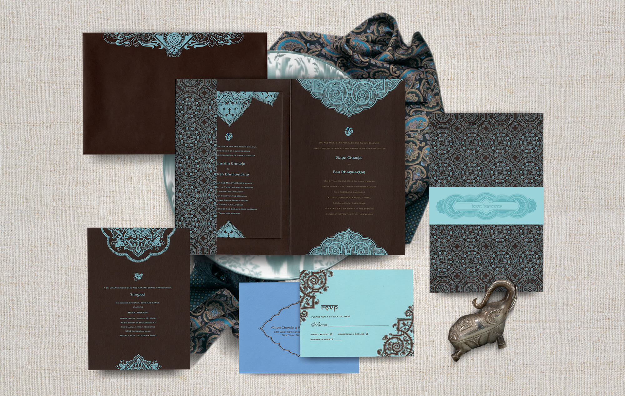 Contemporary meets traditional Indian wedding invitation