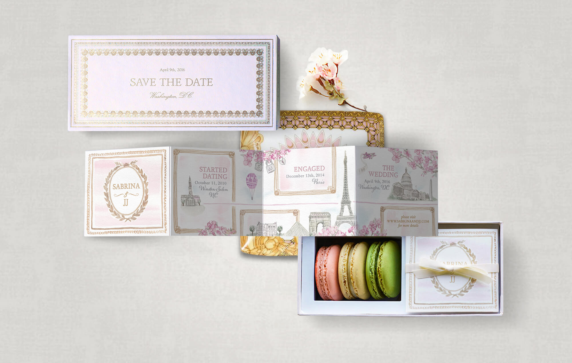La Durée inspired macaron box save the date