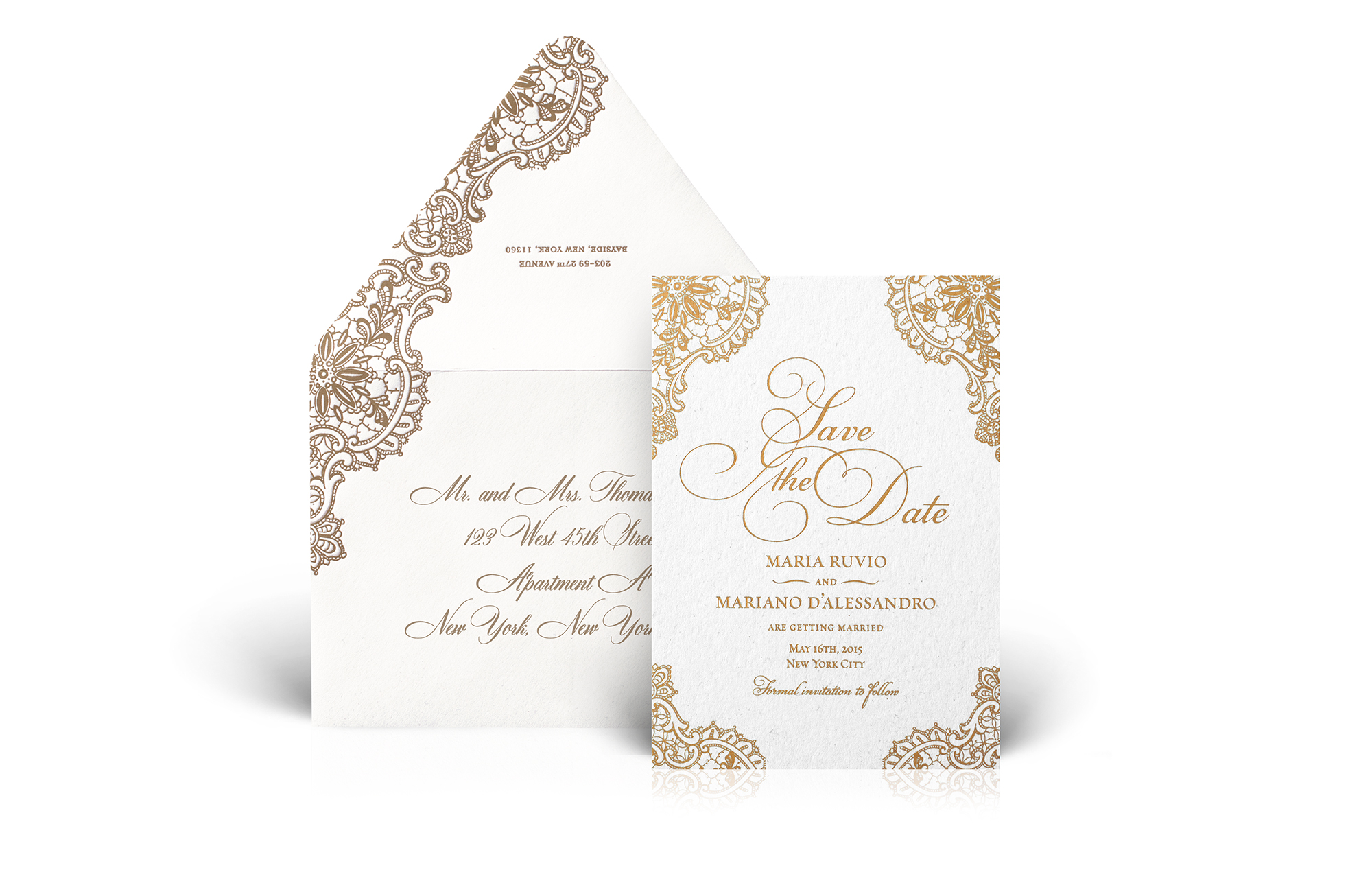 Gold and ivory lace save the date