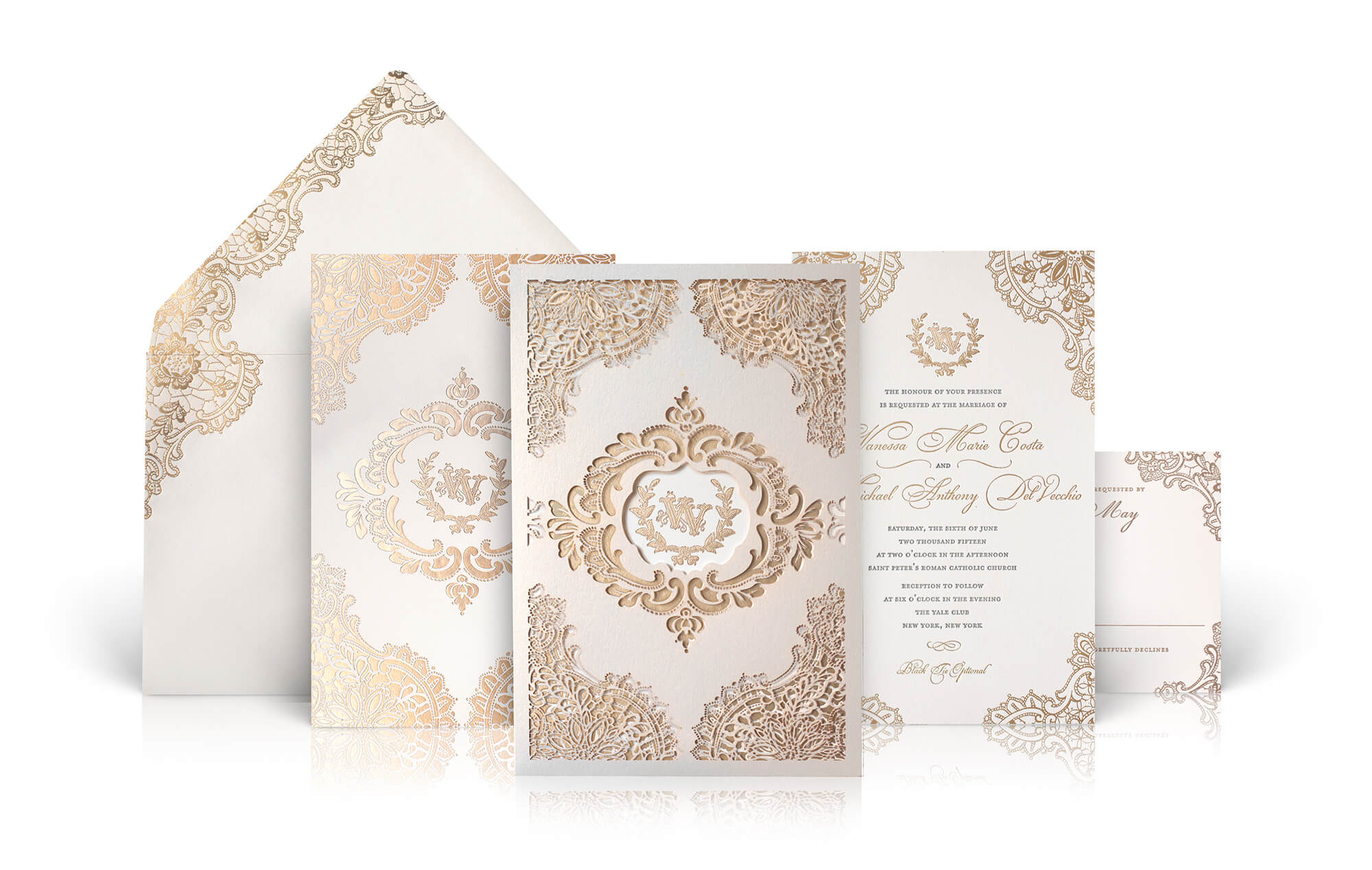 Lace and laser cut gold and ivory wedding invitation