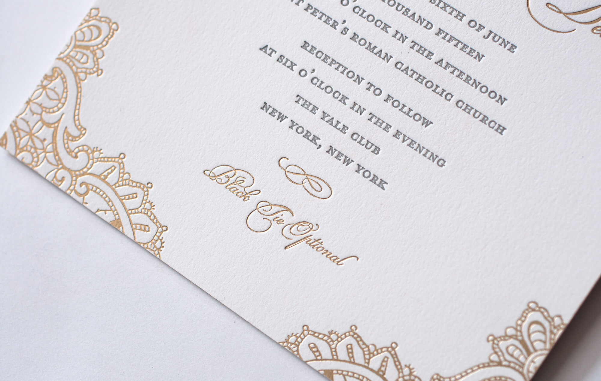 Letterpress and gold foil typography