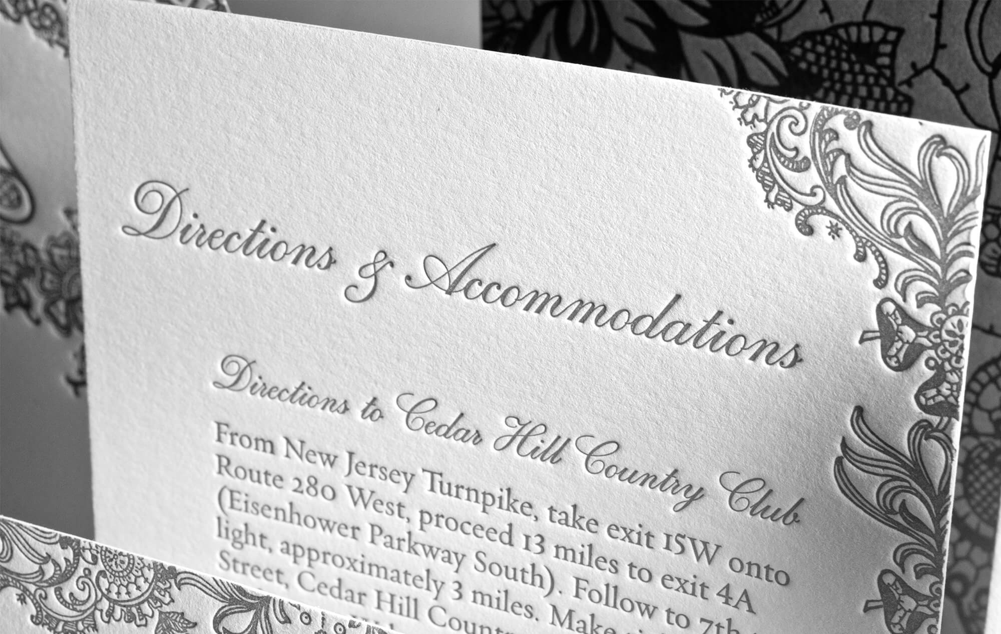 Letterpress directions and accommodations cards