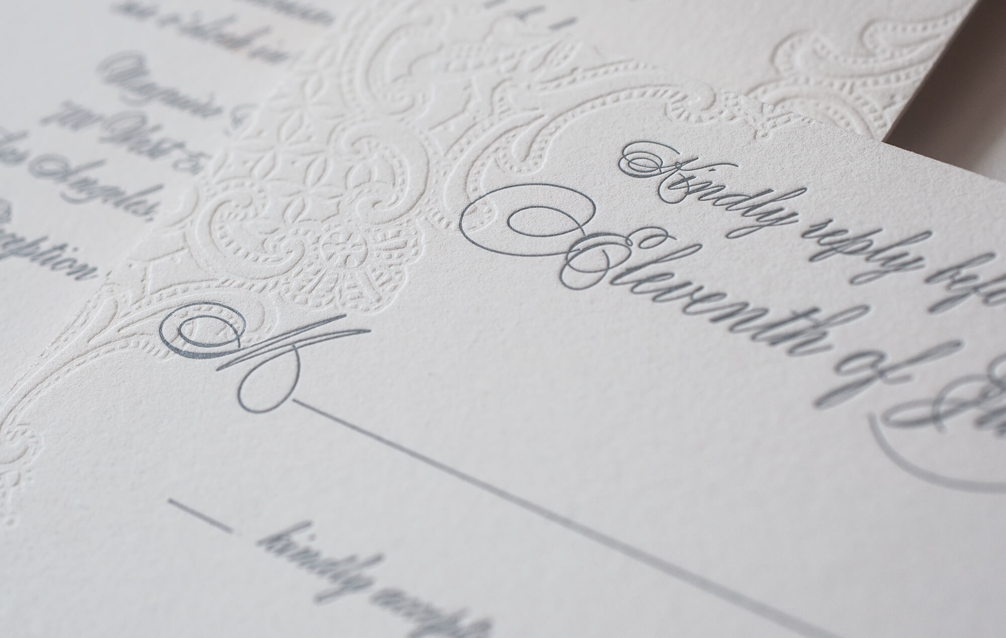 Letterpress lace and grey lettering